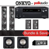 Polk Audio TSi 500 5.2-Ch Home Theater Speaker System with Onkyo TX-NR787 9.2-Channel 4K Network A/V Receiver - Stereo Advantage