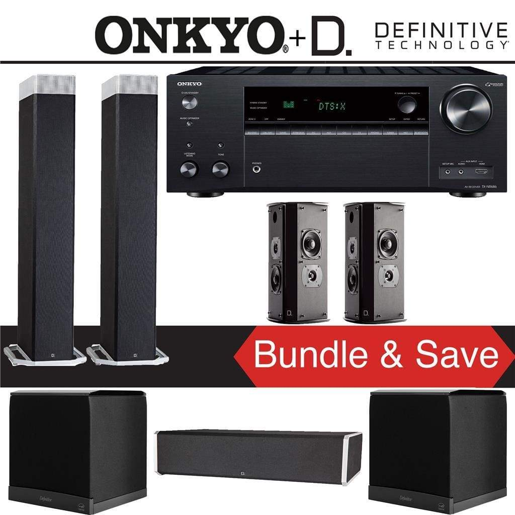 Definitive Technology BP9080 x 5.1-Ch High Performance Home Theater Speaker Package with Onkyo TX-NR686 7.2-Channel 4K Network A/V Receiver - Stereo Advantage