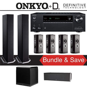 Definitive Technology BP9020 7.1-Ch Home Theater Speaker Package with Onkyo TX-NR787 9.2-Channel 4K Network A/V Receiver - Stereo Advantage