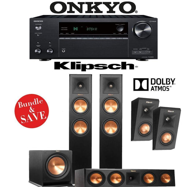 Klipsch RP-260F 3.1.2-Ch Reference Premiere Dolby Atmos Home Theater Speaker System with Onkyo TX-NR787 9.2-Channel 4K Network A/V Receiv...