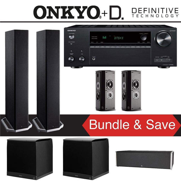 Definitive Technology BP9020 5.2-Ch High Performance Home Theater Speaker Package with Onkyo TX-NR686 7.2-Channel 4K Network A/V Receiver