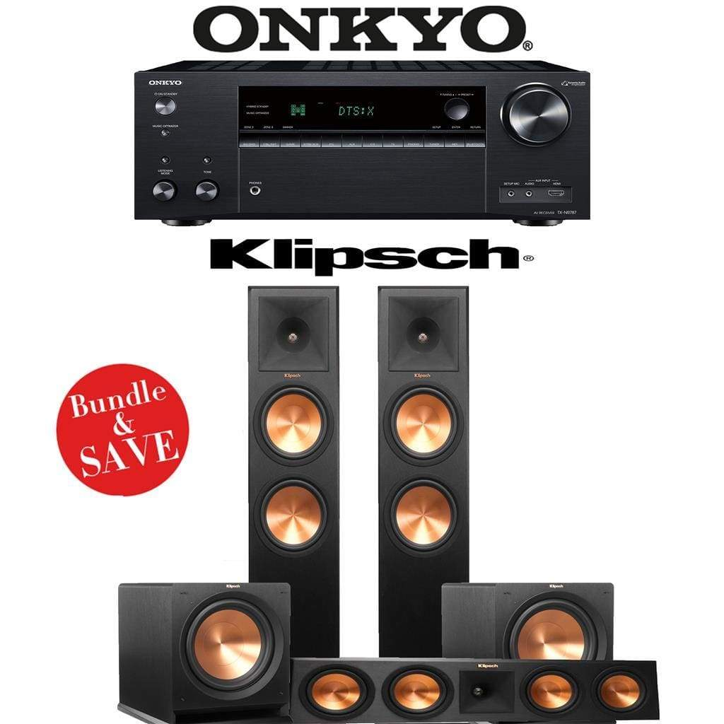 Klipsch RP-280F 3.2-Ch Reference Premiere Home Theater Speaker System with Onkyo TX-NR787 9.2-Channel 4K Network A/V Receiver - Stereo Advantage