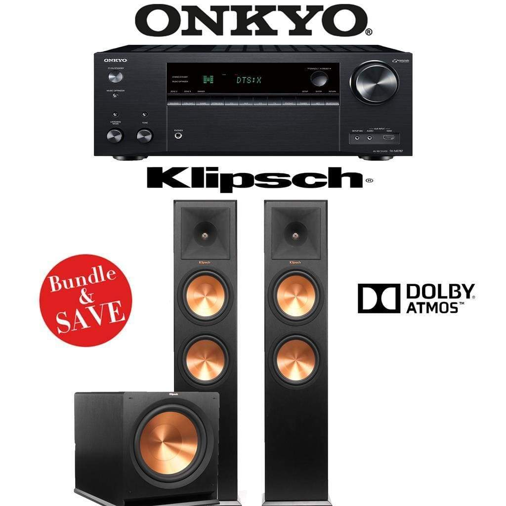 Klipsch RP-280FA 2.1.2-Ch Reference Premiere Dolby Atmos Home Theater Speaker System with Onkyo TX-NR787 9.2-Channel 4K Network A/V Recei... - Stereo Advantage