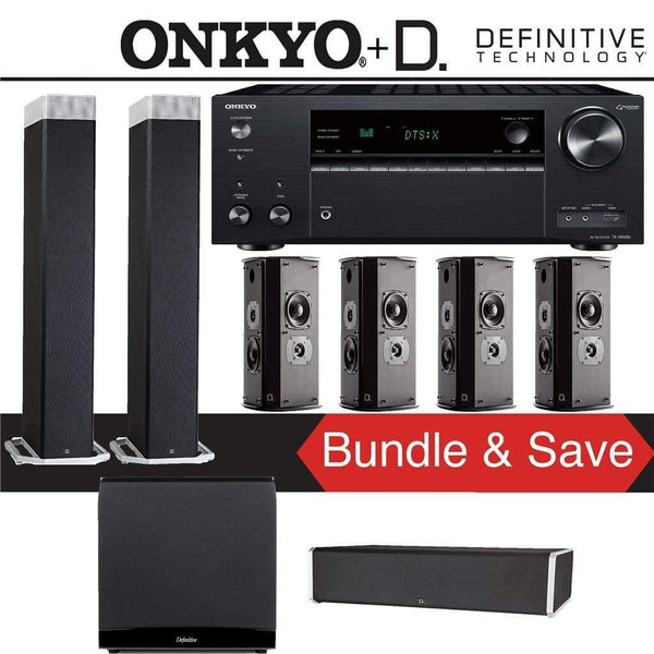 Definitive Technology BP9080 x 7.1-Ch High Performance Home Theater Speaker Package with Onkyo TX-NR686 7.2-Channel 4K Network A/V Receiver
