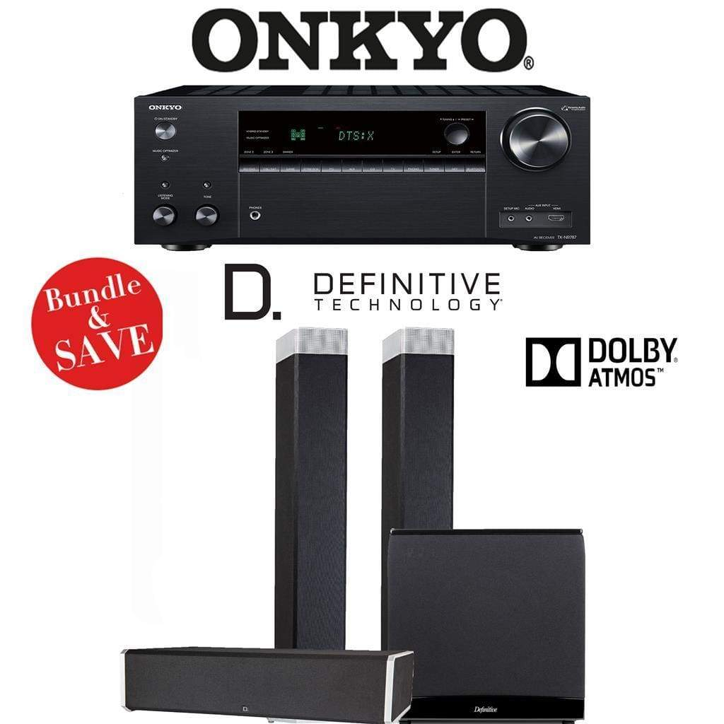 Definitive Technology BP9080 x 3.1.2-Ch Dolby Atmos Home Theater Speaker Package with Onkyo TX-NR787 9.2-Channel 4K Network A/V Receiver - Stereo Advantage