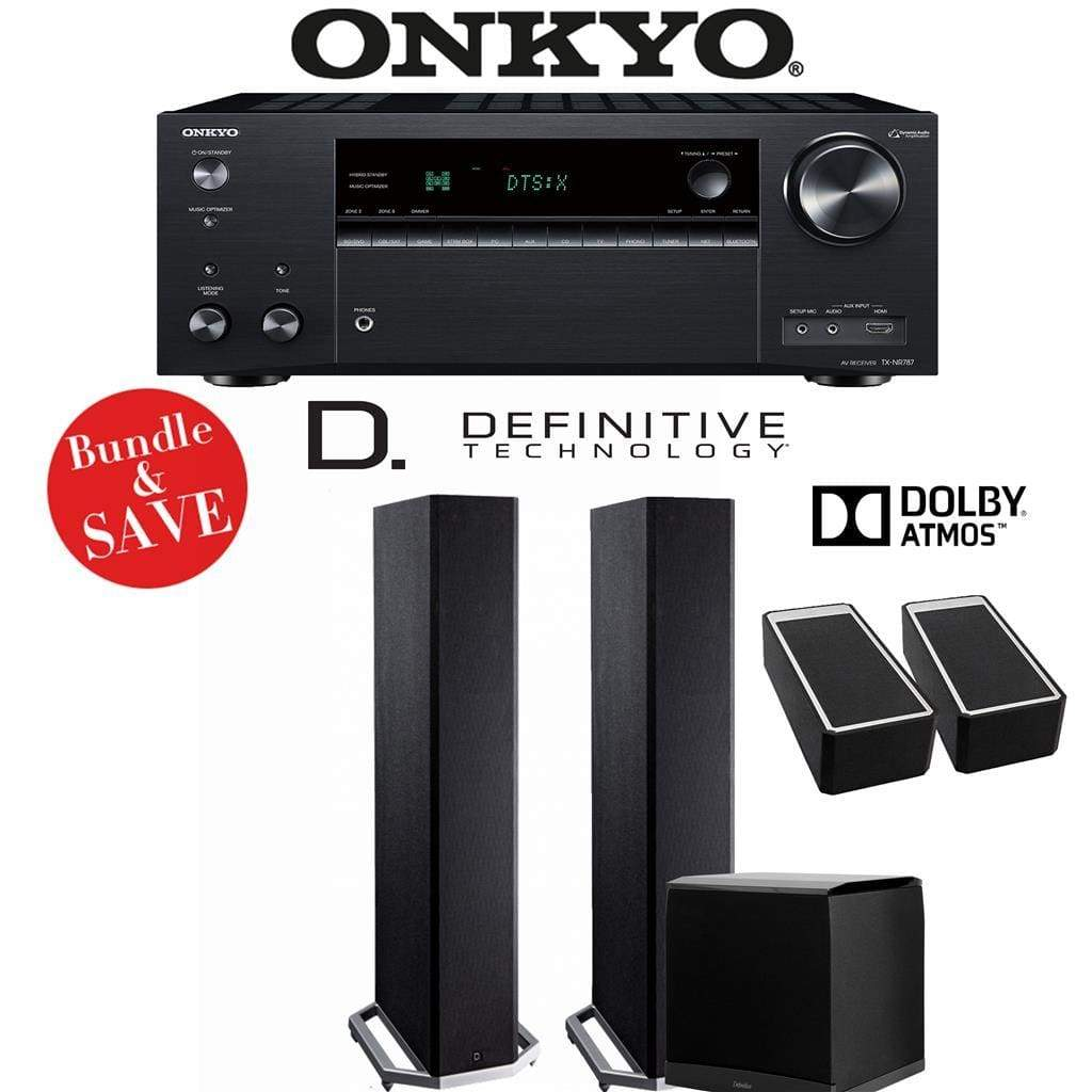 Definitive Technology BP9020 2.1.2-Ch Dolby Atmos Home Theater Speaker Package with Onkyo TX-NR787 9.2-Channel 4K Network A/V Receiver - Stereo Advantage