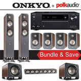 Polk Audio Signature S55 7.2-Ch Home Theater Speaker System (Brown Walnut) with Onkyo TX-NR686 7.2-Channel 4K Network A/V Receiver - Stereo Advantage