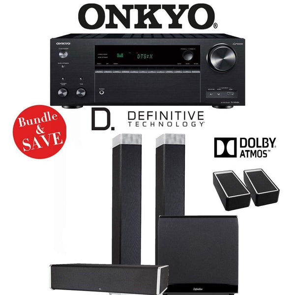 Definitive Technology BP9080 x 3.1.2-Ch Dolby Atmos High Performance Home Theater Speaker Package with Onkyo TX-NR686 7.2-Channel 4K Netw...