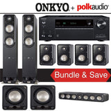 Polk Audio Signature S55 7.2-Ch Home Theater Speaker System with Onkyo TX-NR787 9.2-Channel 4K Network A/V Receiver - Stereo Advantage