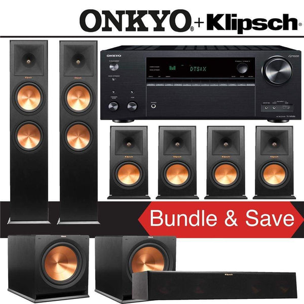 Klipsch RP-280F 7.2-Ch Reference Premiere Home Theater Speaker System with Onkyo TX-NR686 7.2-Channel 4K Network A/V Receiver