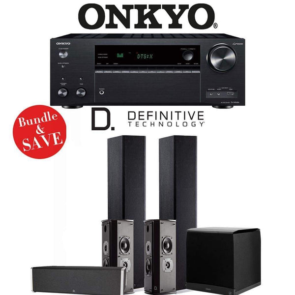 Definitive Technology BP9020 5.1-Ch High Performance Home Theater Speaker Package with Onkyo TX-NR686 7.2-Channel 4K Network A/V Receiver