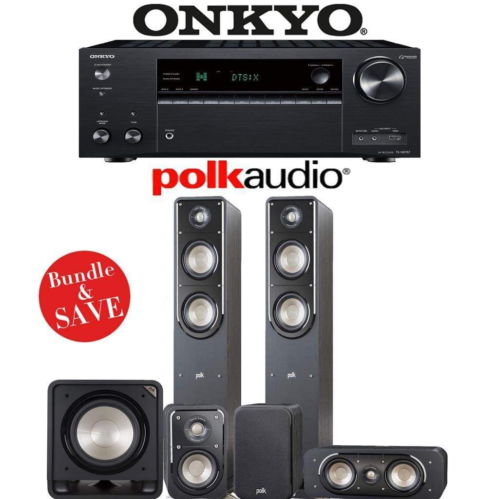 Polk Audio Signature S50 5.1-Ch Home Theater Speaker System with Onkyo TX-NR787 9.2-Channel 4K Network A/V Receiver - Stereo Advantage