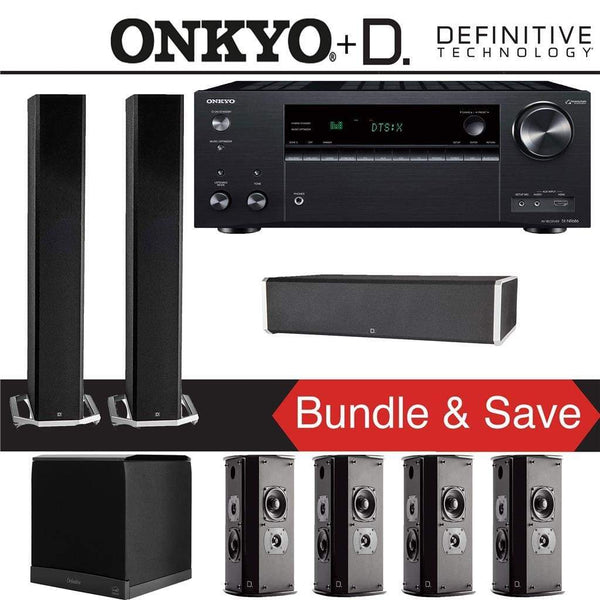 Definitive Technology BP9060 7.1-Ch High Performance Home Theater Speaker Package with Onkyo TX-NR686 7.2-Channel 4K Network A/V Receiver