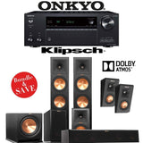 Klipsch RP-280F 5.1.2-Ch Reference Premiere Dolby Atmos Home Theater Speaker System with Onkyo TX-NR686 7.2-Channel 4K Network A/V Recei... - Stereo Advantage