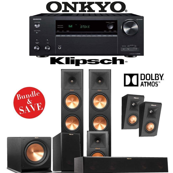 Klipsch RP-280F 5.1.2-Ch Reference Premiere Dolby Atmos Home Theater Speaker System with Onkyo TX-NR686 7.2-Channel 4K Network A/V Recei...