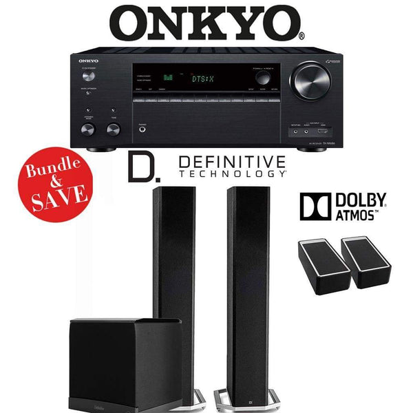 Definitive Technology BP9060 2.1.2-Ch Dolby Atmos High Performance Home Theater Speaker Package with Onkyo TX-NR686 7.2-Channel 4K Networ...