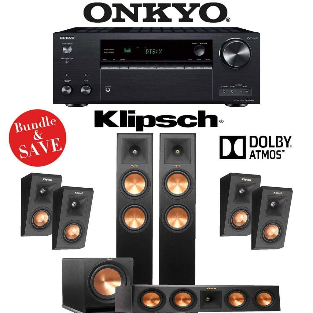 Klipsch RP-260F 3.1.4-Ch Reference Premiere Dolby Atmos Home Theater System with Onkyo TX-NR686 7.2-Channel 4K Network A/V Receiver - Stereo Advantage