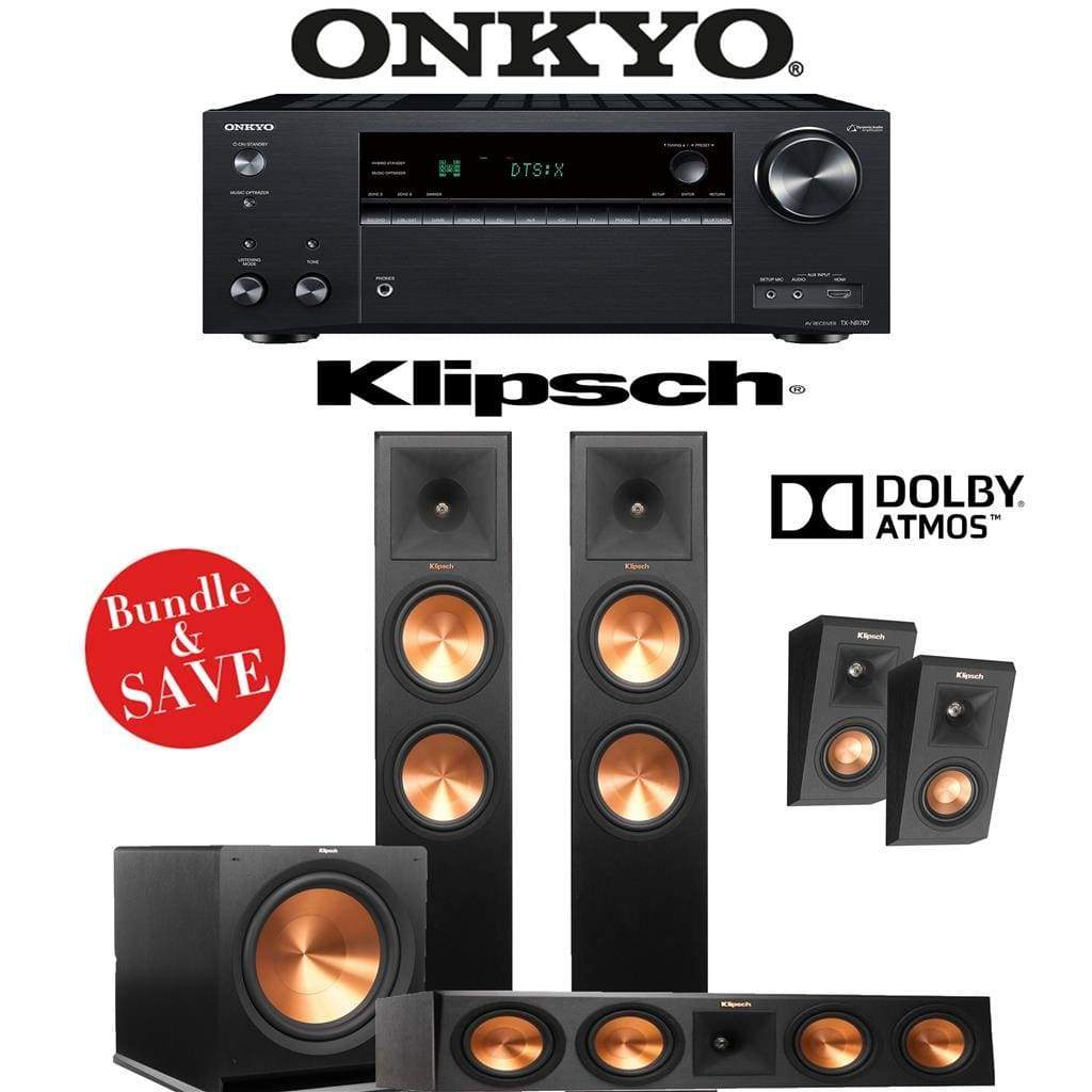 Klipsch RP-280FA 3.1.4-Ch Reference Premiere Dolby Atmos Home Theater Speaker System with Onkyo TX-NR787 9.2-Channel 4K Network A/V Recei... - Stereo Advantage