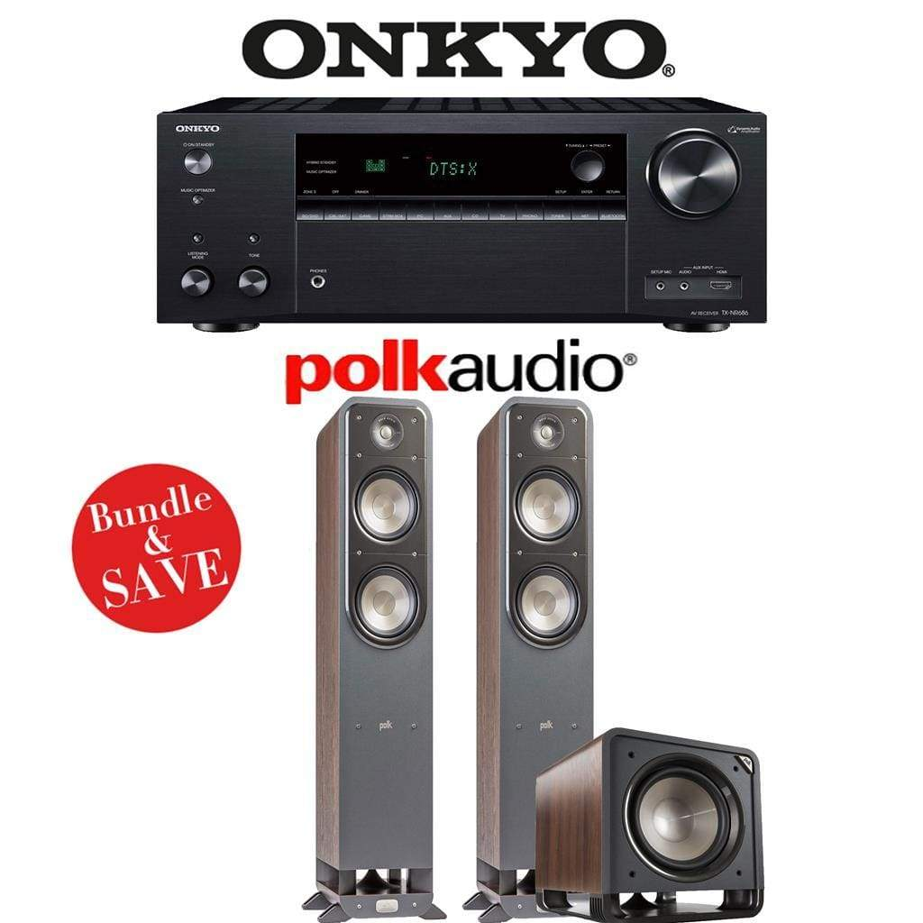 Onkyo TX-NR686 7.2-Channel THX Certified Network A/V Receiver + Polk Audio S55 + Polk Audio HTS12-2.1-Ch Home Theater Package (Brown Waln... - Stereo Advantage
