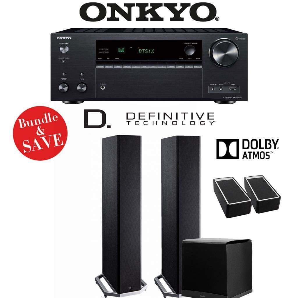 Definitive Technology BP9020 2.1.2-Ch Dolby Atmos Home Theater Speaker Package with Onkyo TX-NR686 7.2-Channel 4K Network A/V Receiver - Stereo Advantage