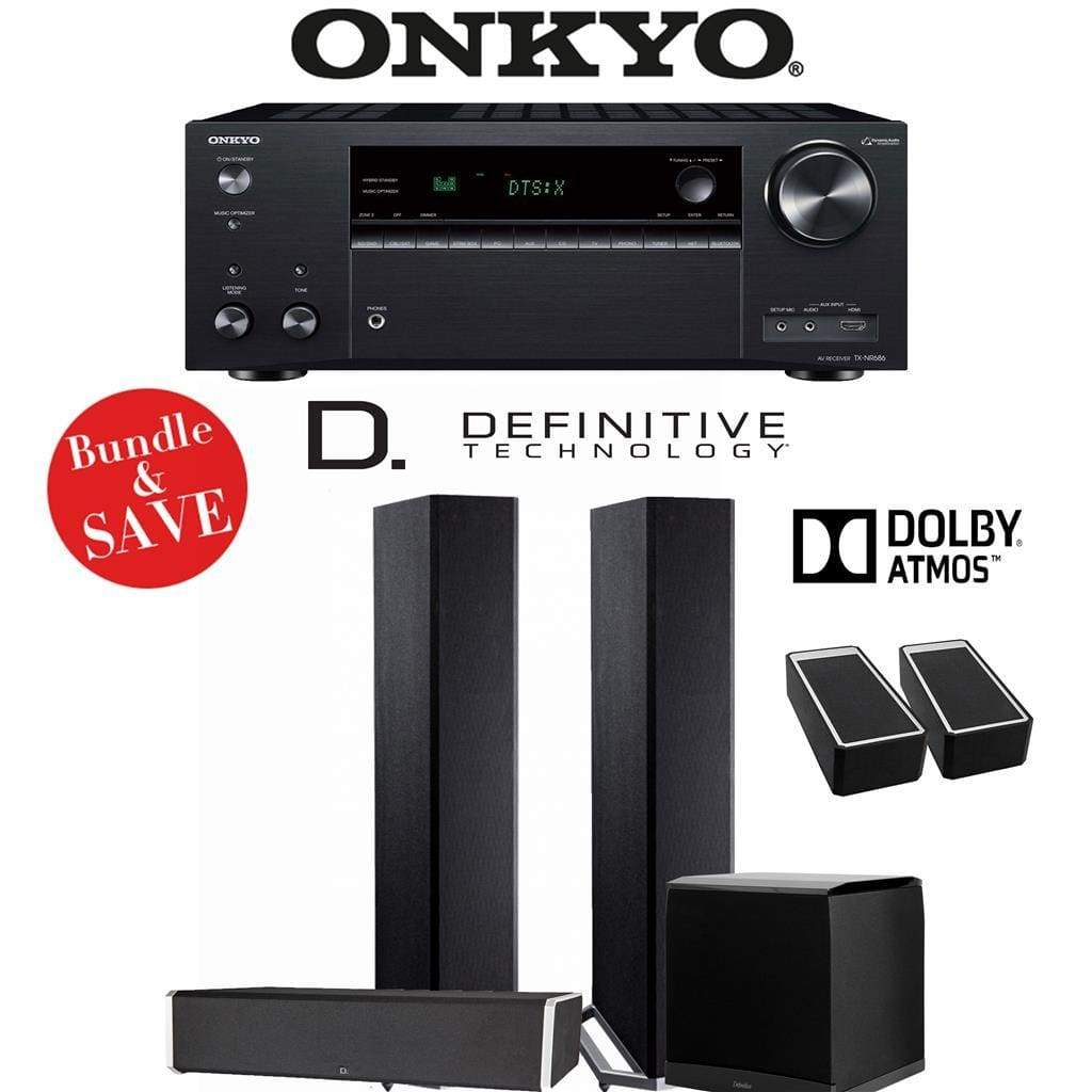 Definitive Technology BP9020 3.1.2-Ch Dolby Atmos Home Theater Speaker Package with Onkyo TX-NR686 7.2-Channel 4K Network A/V Receiver - Stereo Advantage