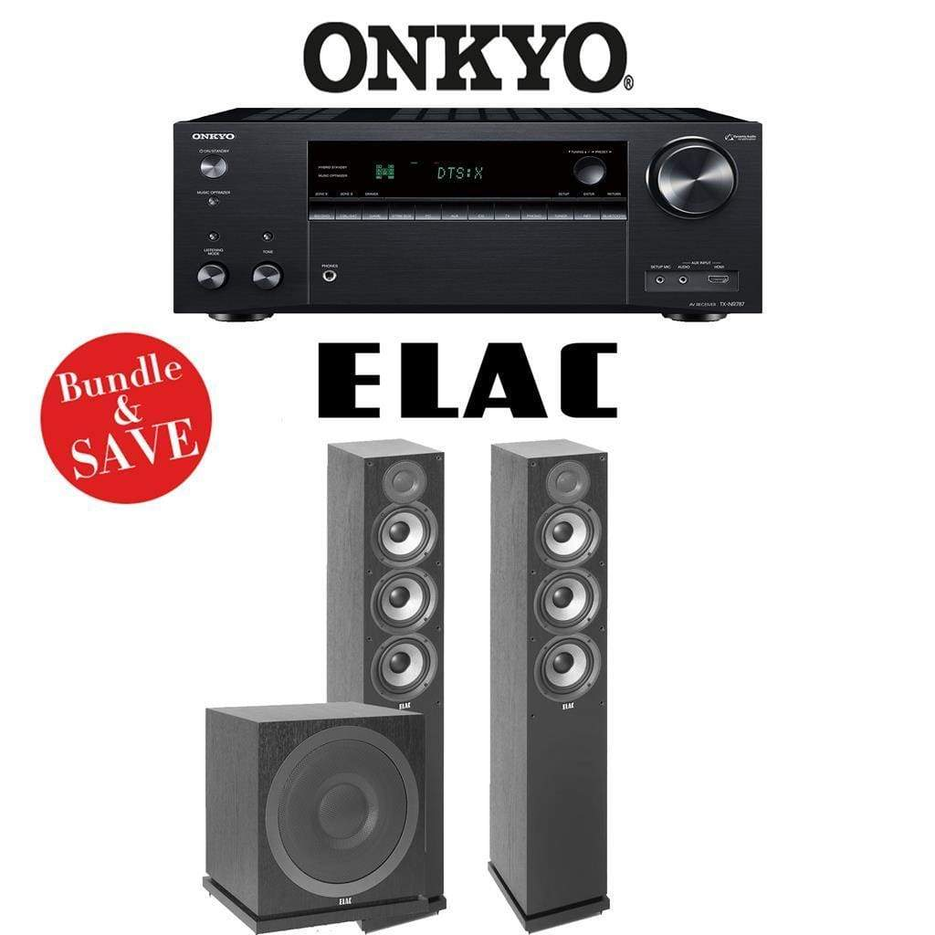 Elac F5.2 Debut 2.0 3.2-Ch Home Theater Speaker System with Onkyo TX-NR787 9.2-Channel 4K Network AV Receiver - Stereo Advantage