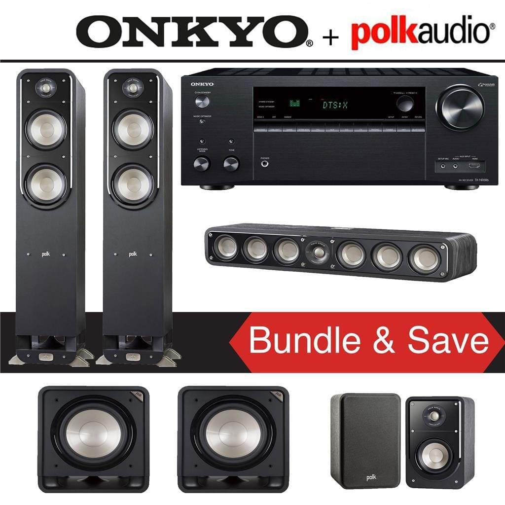Polk Audio Signature S55 5.2-Ch Home Theater Speaker System with Onkyo TX-NR686 7.2-Channel 4K Network A/V Receiver - Stereo Advantage