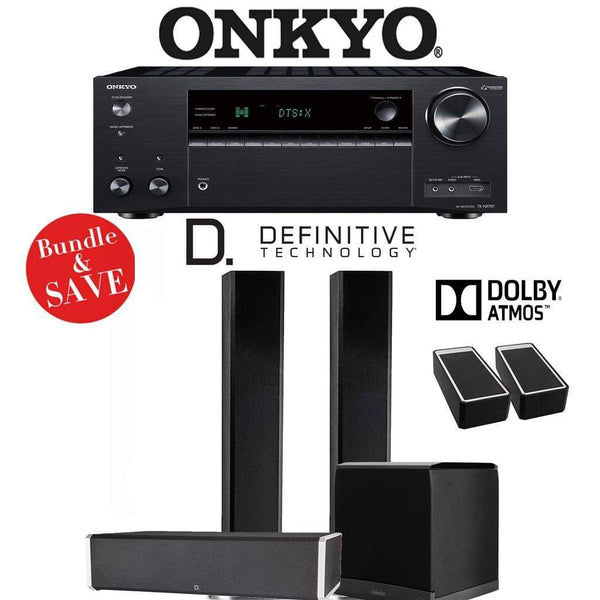 Definitive Technology BP9060 3.1.2-Ch Dolby Atmos Home Theater Speaker Package with Onkyo TX-NR787 9.2-Channel 4K Network A/V Receiver