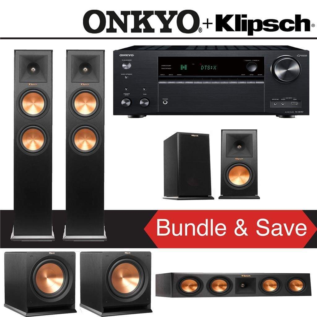 Klipsch RP-260F 5 2-Ch Reference Premiere Home Theater Speaker System with  Onkyo TX-NR787 9 2-Channel 4K Network A/V Receiver