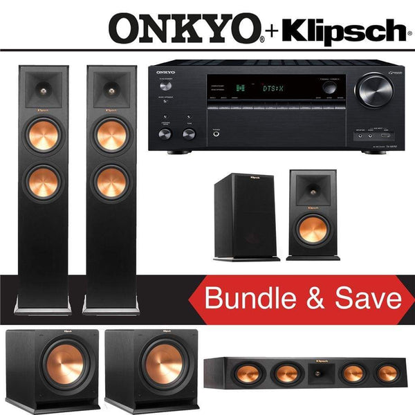 Klipsch RP-260F 5.2-Ch Reference Premiere Home Theater Speaker System with Onkyo TX-NR787 9.2-Channel 4K Network A/V Receiver