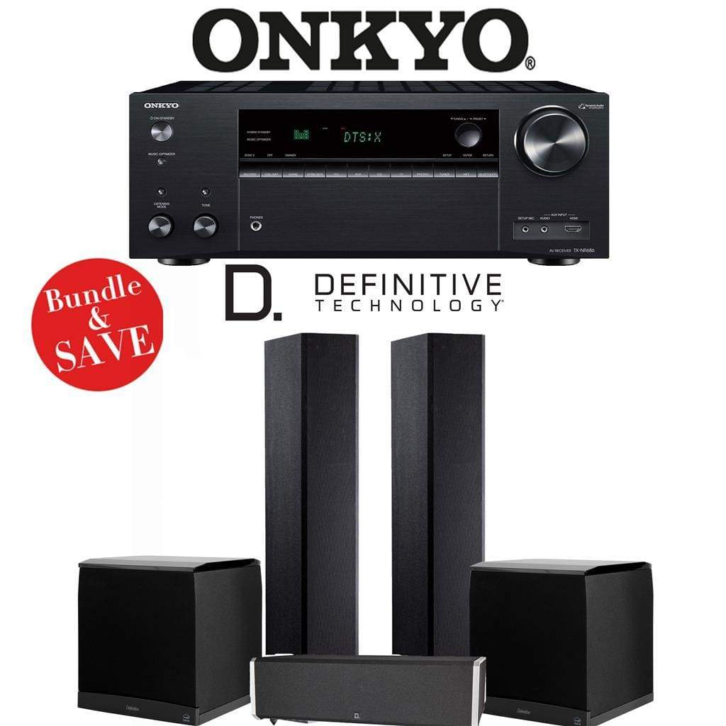 Definitive Technology BP9020 3.2-Ch High Performance Home Theater Speaker Package with Onkyo TX-NR686 7.2-Channel 4K Network A/V Receiver - Stereo Advantage