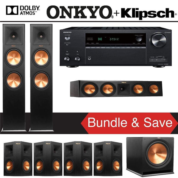 Klipsch RP-280FA 7.1.2-Ch Reference Premiere Dolby Atmos Home Theater Speaker System with Onkyo TX-NR787 9.2-Channel 4K Network A/V Recei...