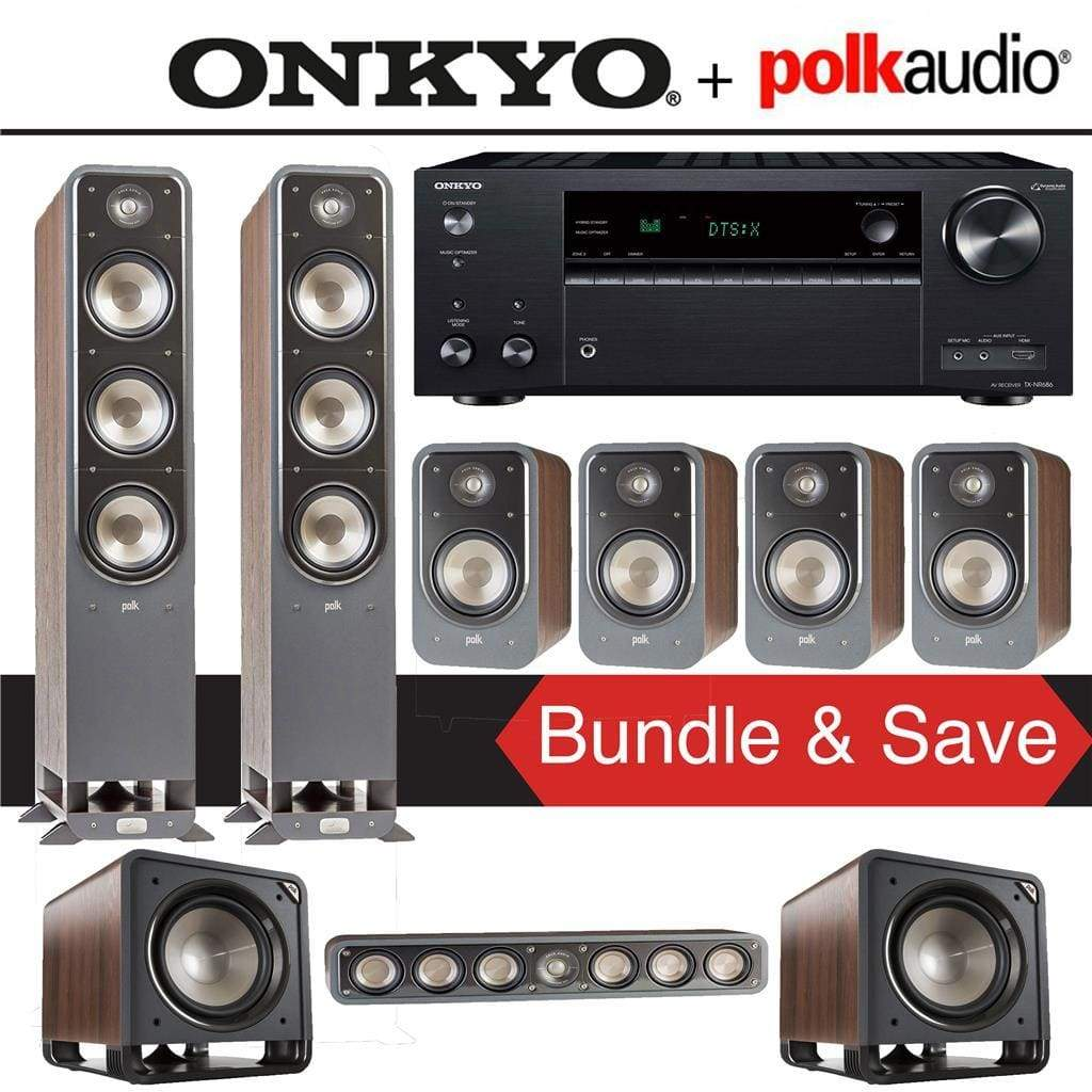Polk Audio Signature S60 7.2-Ch Home Theater Speaker System (Brown Walnut) with Onkyo TX-NR686 7.2-Channel 4K Network A/V Receiver - Stereo Advantage