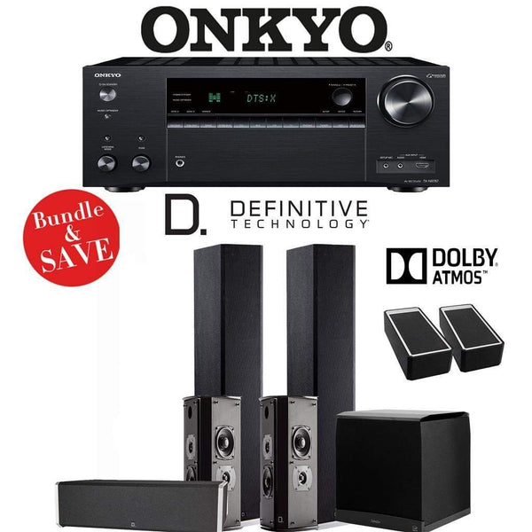 Definitive Technology BP9020 5.1.2-Ch Dolby Atmos Home Theater Speaker Package with Onkyo TX-NR787 9.2-Channel 4K Network A/V Receiver