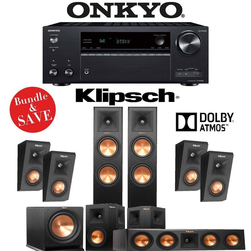 Klipsch RP-260F 5.1.4-Ch Reference Premiere Dolby Atmos Home Theater System with Onkyo TX-NR686 7.2-Channel 4K Network A/V Receiver - Stereo Advantage