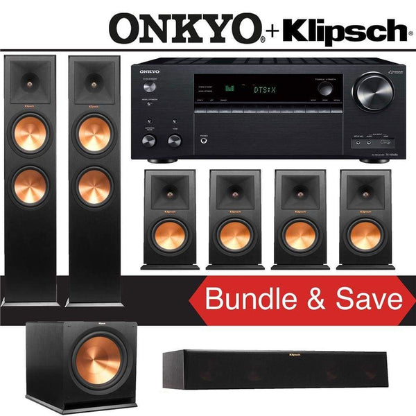 Klipsch RP-280F 7.1-Ch Reference Premiere Home Theater Speaker System with Onkyo TX-NR686 7.2-Channel 4K Network A/V Receiver