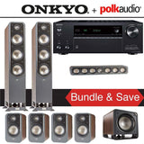 Polk Audio Signature S60 7.1-Ch Home Theater Speaker System (Brown Walnut) with Onkyo TX-NR686 7.2-Channel 4K Network A/V Receiver - Stereo Advantage