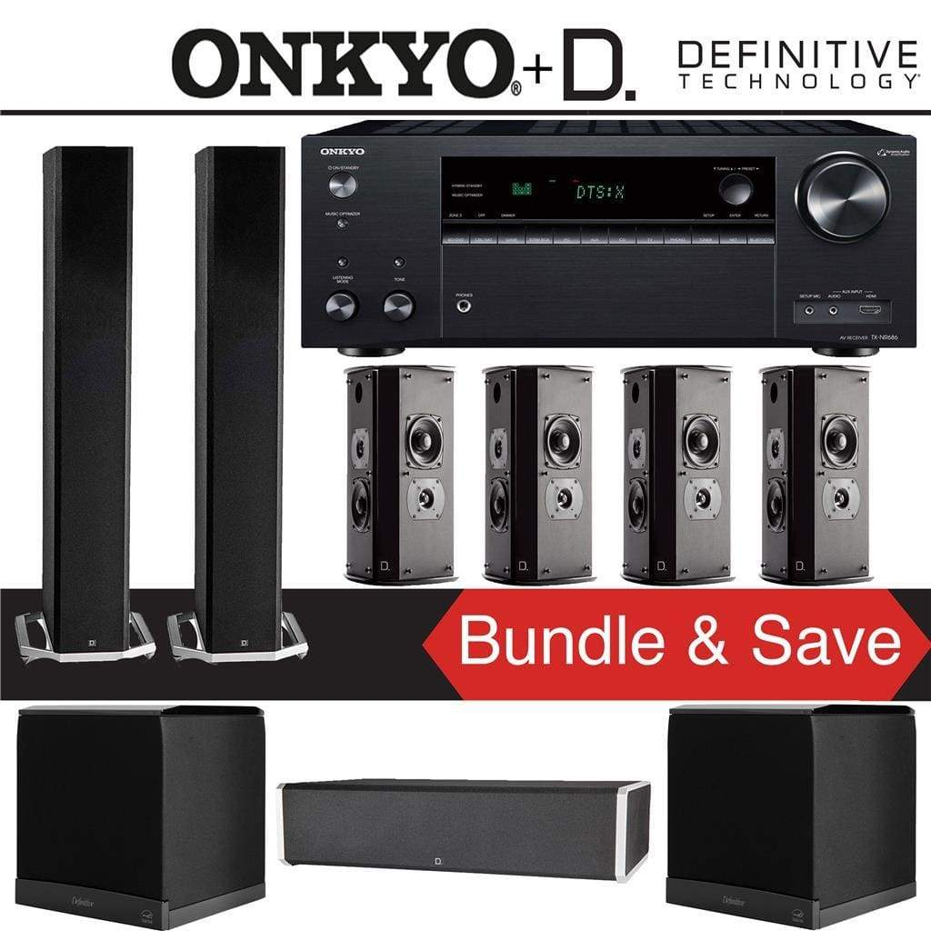Definitive Technology BP9060 7.2-Ch High Performance Home Theater Speaker Package with Onkyo TX-NR686 7.2-Channel 4K Network A/V Receiver - Stereo Advantage