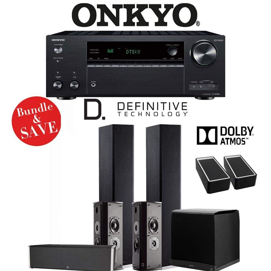 Definitive Technology BP9020 5.1.2-Ch Dolby Atmos Home Theater Speaker Package with Onkyo TX-NR686 7.2-Channel 4K Network A/V Receiver - Stereo Advantage