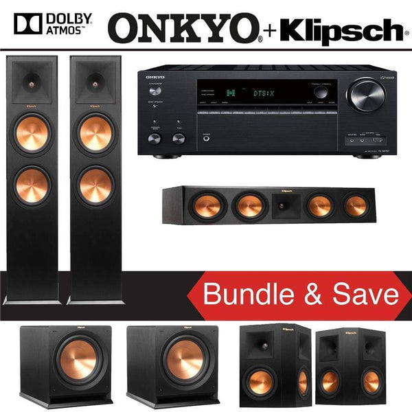Klipsch RP-280FA 5.2.2-Ch Reference Premiere Dolby Atmos Home Theater Speaker System with Onkyo TX-NR787 9.2-Channel 4K Network A/V Recei...