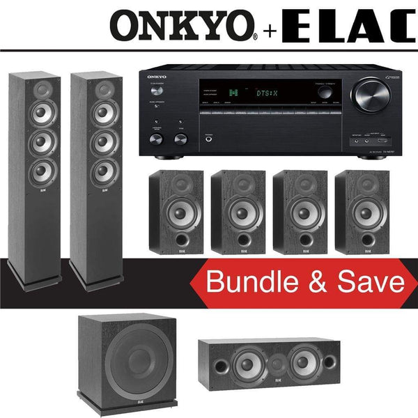 Elac F5.2 Debut 2.0 7.1-Ch Home Theater Speaker System with Onkyo TX-NR787 9.2-Channel 4K Network AV Receiver