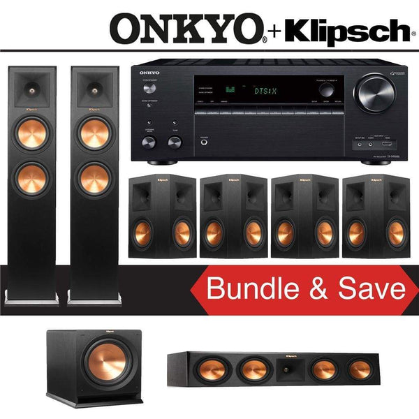 Klipsch RP-260F 7.1-Ch Reference Premiere Home Theater System with Onkyo TX-NR686 7.2-Channel 4K Network A/V Receiver