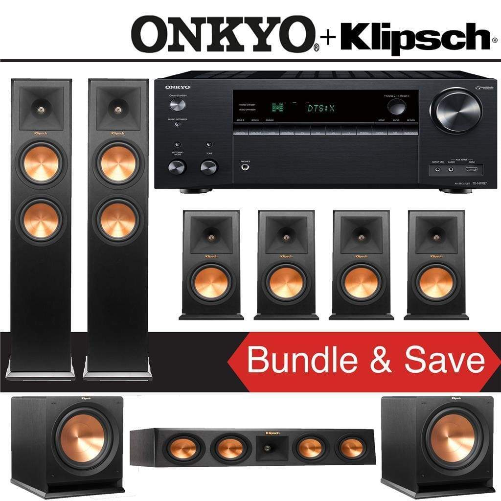 Klipsch RP-260F 7.2-Ch Reference Premiere Home Theater Speaker System with Onkyo TX-NR787 9.2-Channel 4K Network A/V Receiver - Stereo Advantage