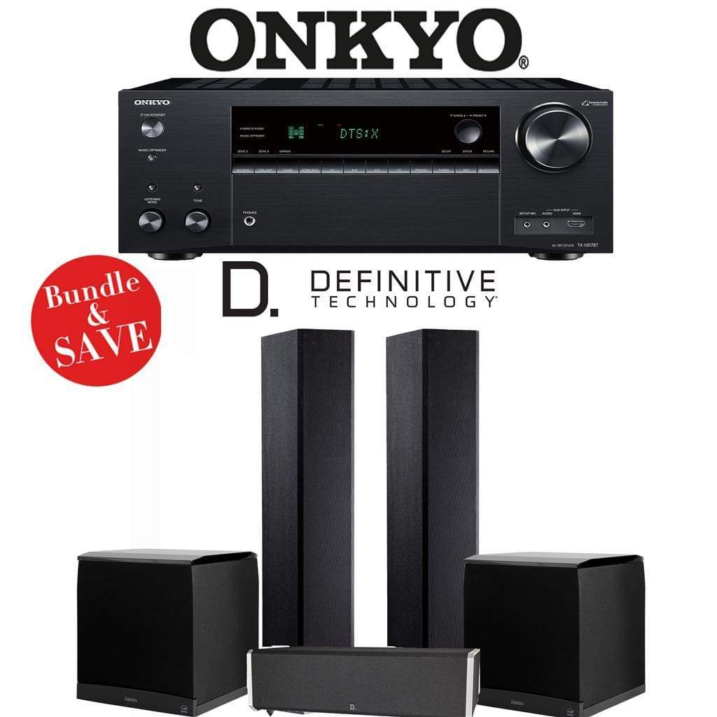 Definitive Technology BP9020 3.2-Ch Home Theater Speaker Package with Onkyo TX-NR787 9.2-Channel 4K Network A/V Receiver - Stereo Advantage