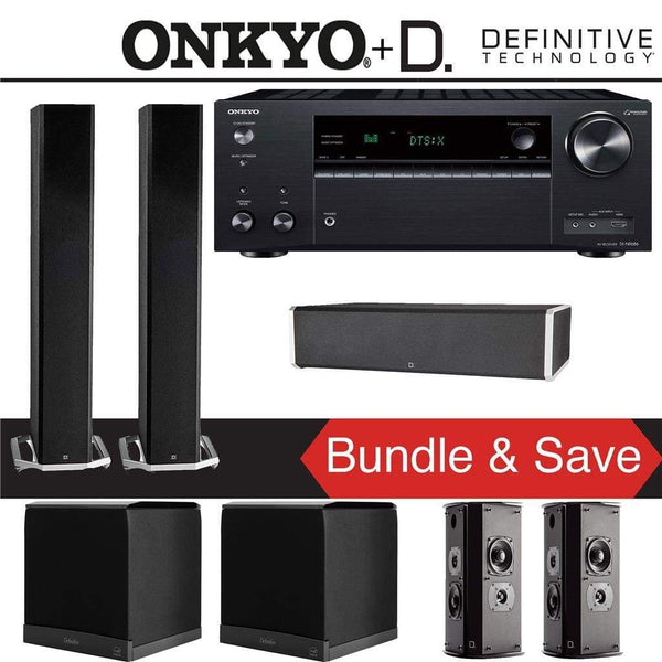 Definitive Technology BP9060 5.2-Ch High Performance Home Theater Speaker Package with Onkyo TX-NR686 7.2-Channel 4K Network A/V Receiver