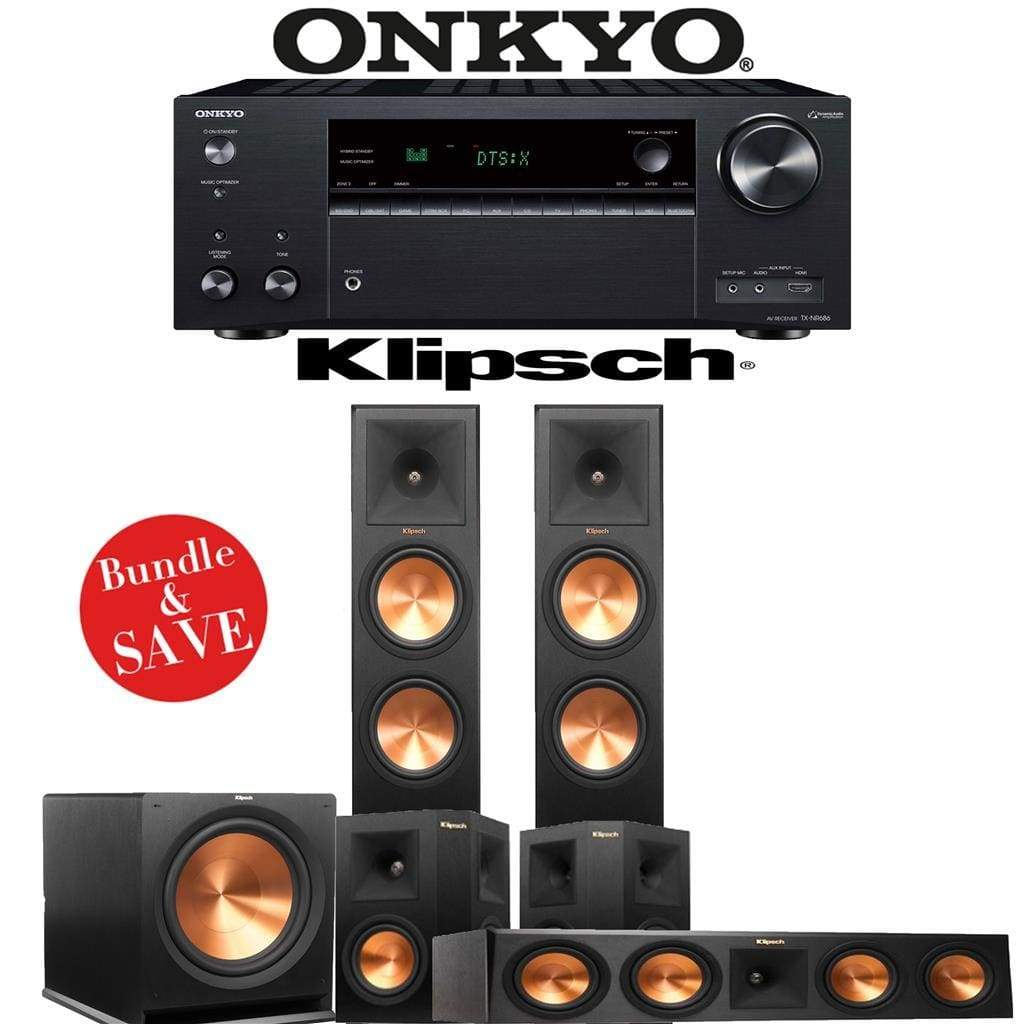 Klipsch RP-280F 3.1-Ch Reference Premiere Home Theater Speaker System with Onkyo TX-NR686 7.2-Channel 4K Network A/V Receiver - Stereo Advantage