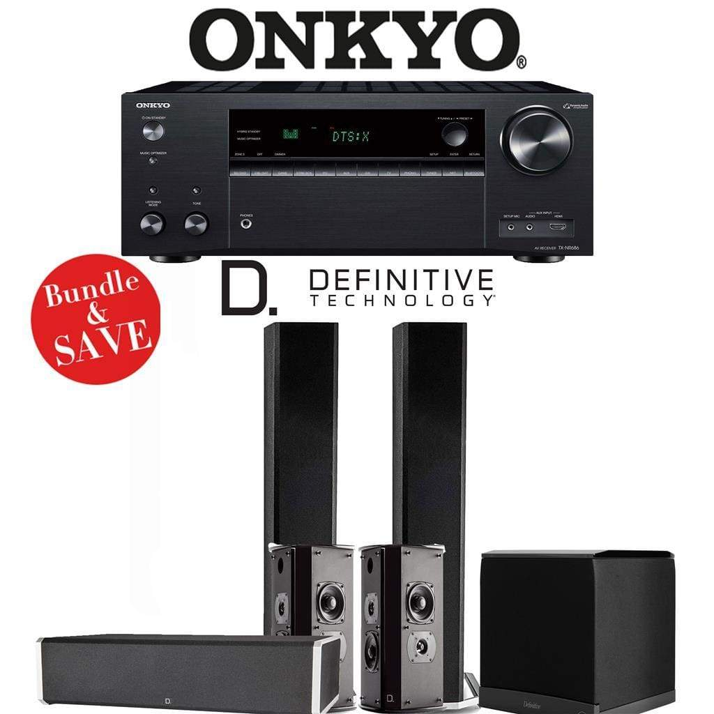Definitive Technology BP9060 5.1-Ch High Performance Home Theater Speaker Package with Onkyo TX-NR686 7.2-Channel 4K Network A/V Receiver - Stereo Advantage