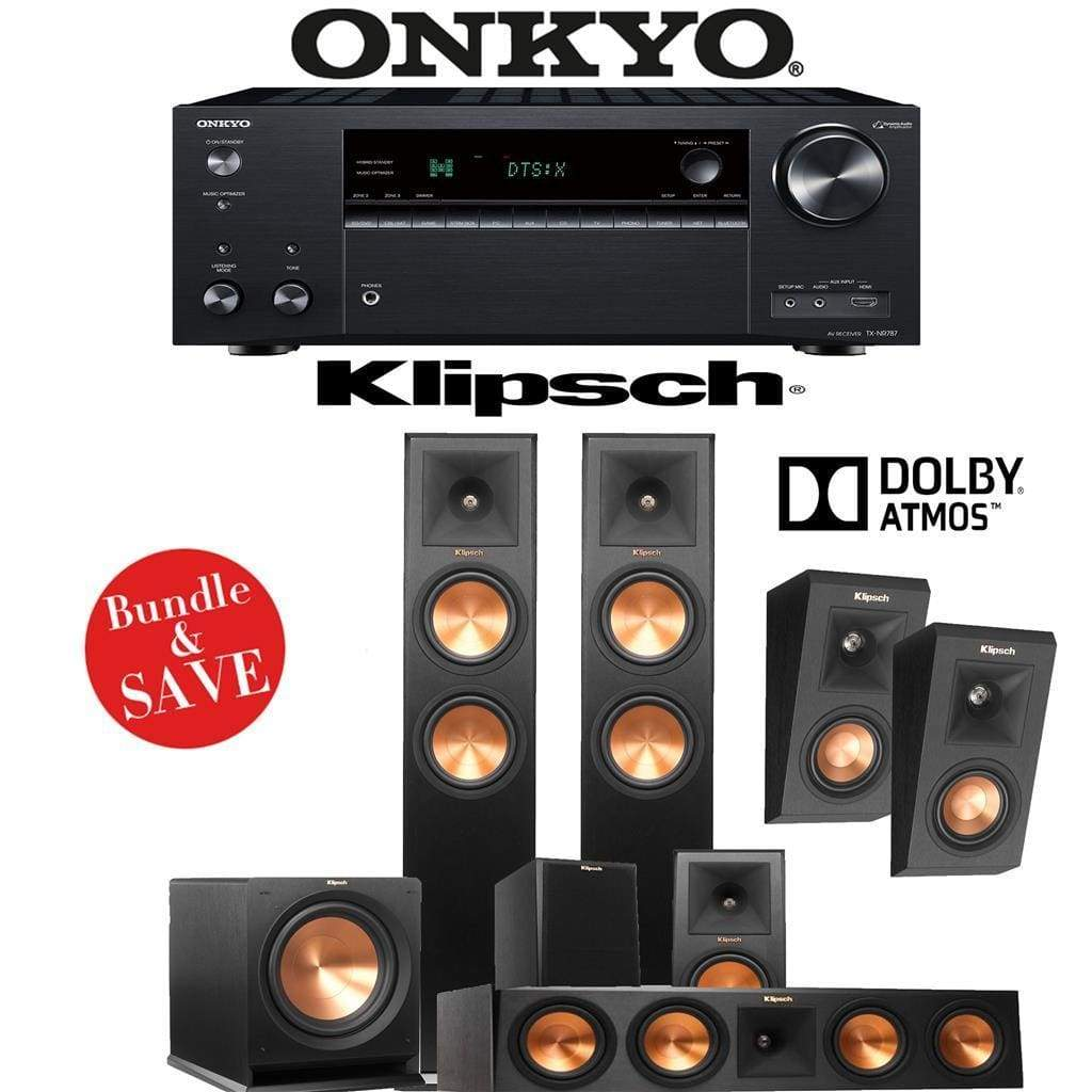 Klipsch RP-260F 5.1.2-Ch Reference Premiere Dolby Atmos Home Theater Speaker System with Onkyo TX-NR787 9.2-Channel 4K Network A/V Receiv... - Stereo Advantage