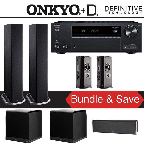 Definitive Technology BP9020 5.2-Ch Home Theater Speaker Package with Onkyo TX-NR787 9.2-Channel 4K Network A/V Receiver
