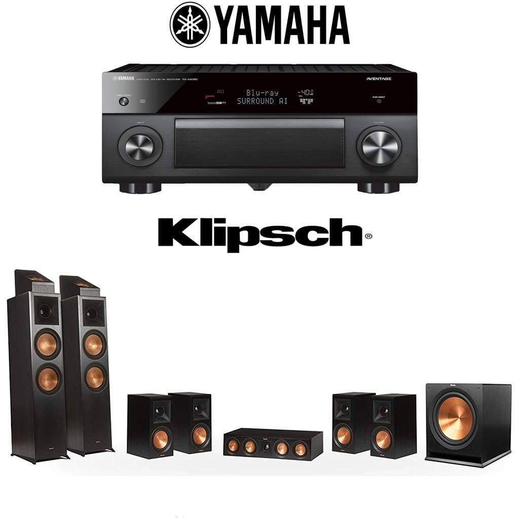 Klipsch RP-8000F 7.1.2 Dolby Atmos Home Theater System with Yamaha AVENTAGE RX-A2080 9.2-Channel 4K Home Theater AV Receiver - Stereo Advantage